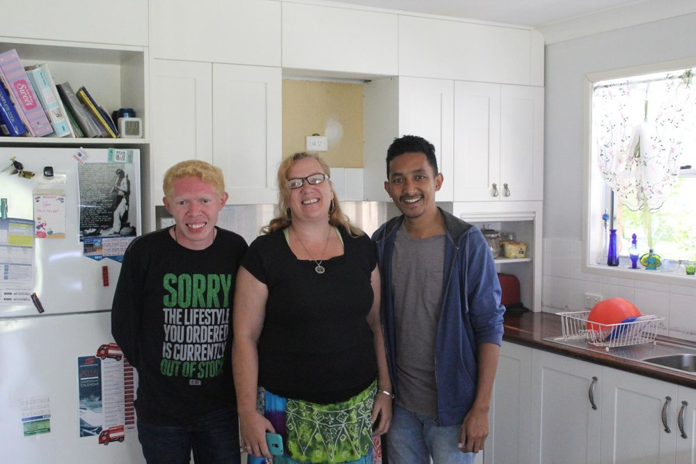 Taking picture with Ibu Beth Kracke in her kitchen.