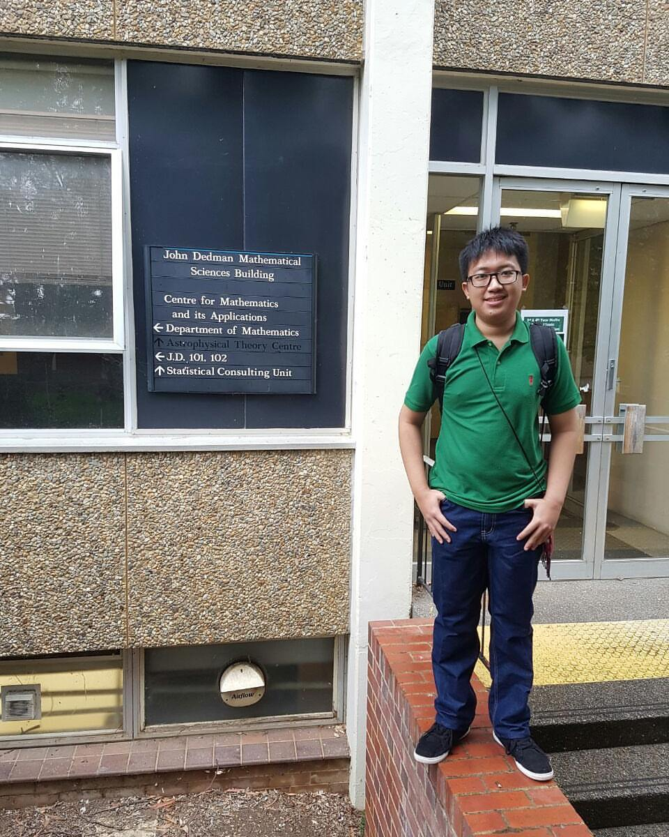 Albert at the Maths building at ANU