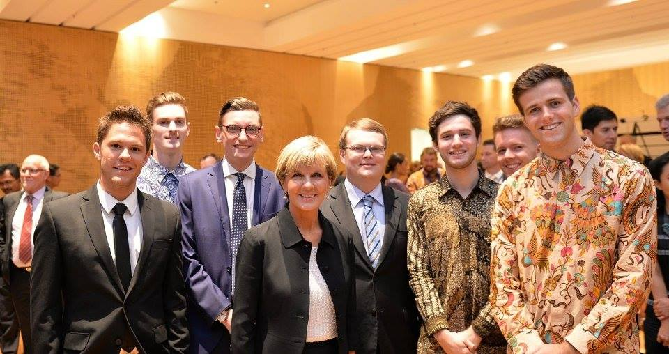 Meeting Foreign Minister Julie Bishop at the opening of the new Australian Embassy in Jakarta. Credit - Embassy