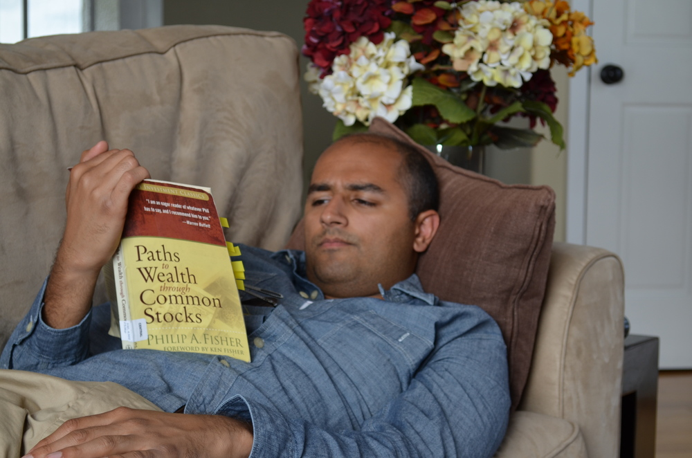 Mendocino, CA  - Me deep in thought absorbing the prose of the legendary investor, Phil Fisher.