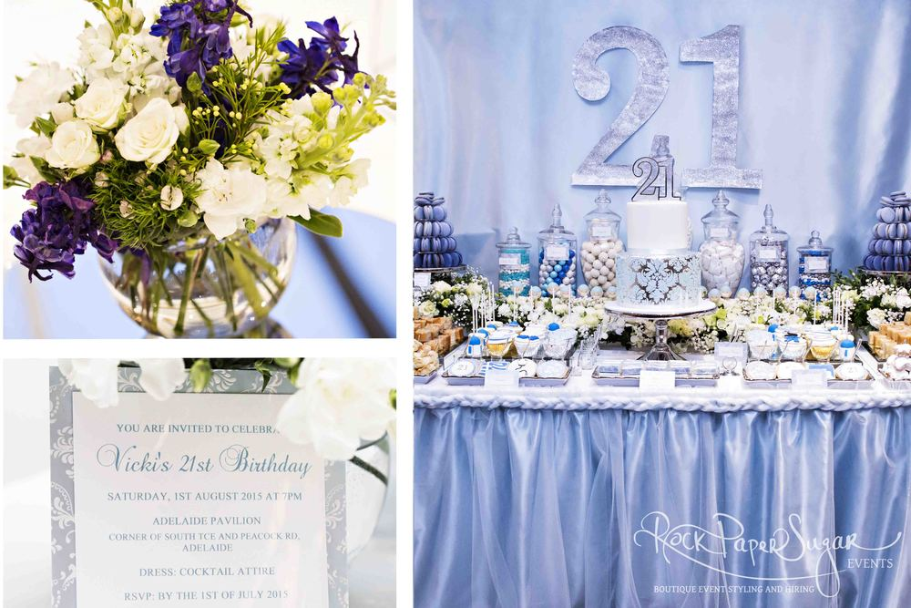 21st Birthday Dessert Table Floral Arrangements Room Set Up NbspInvitations
