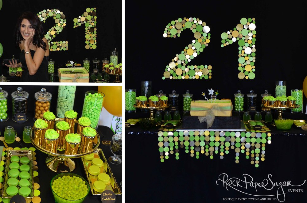 21st Birthday ~ Candy and Dessert Table     Just wanted to say thank you for yesterday, it looked incredible and I loved it all. You're amazing!     Arezou