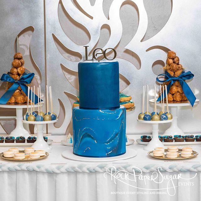 Gorgeous Leo's Christening Dessert Table 💙 Styling by @rockpapersugarevents #christening #desserttable #babyboy #love