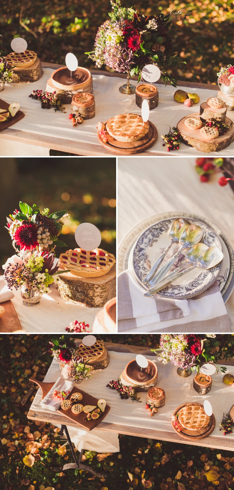 An alternative to cake: Beautiful, Autumnal pie dessert table via  Rock My Wedding  (take in the entire post - the images are just breathtaking!)