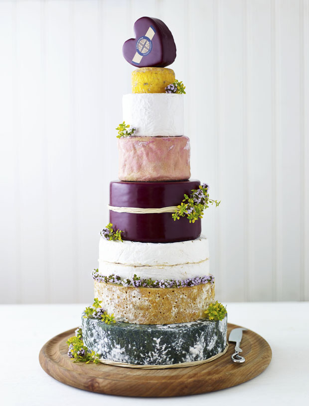 If sweet really isn't your thing, this glorious celebration of cheese could be the way to go.   Godminster celebration cheese cake  via  Want That wedding