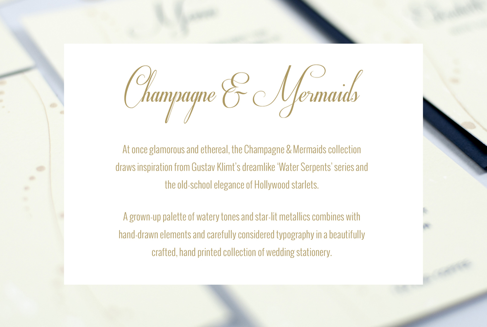 champagne & mermaids wedding stationery collection