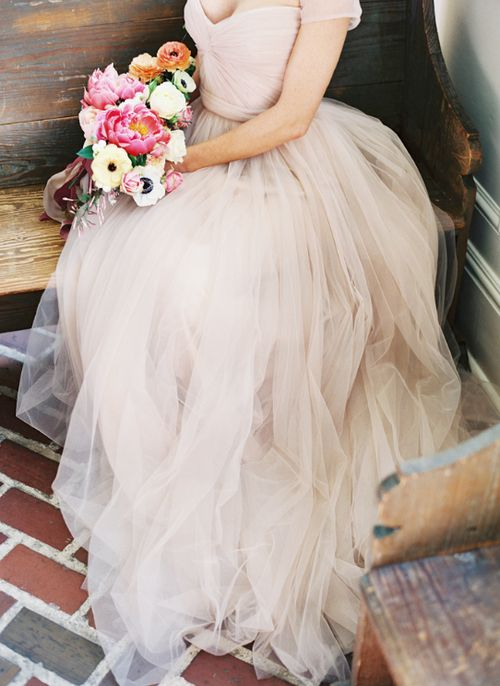 Masses of romantic blush tulle