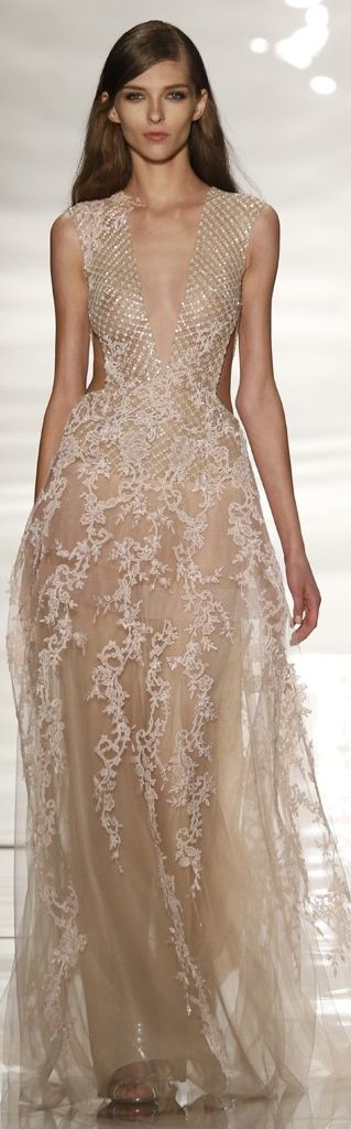 Reem Acra uses gold to hilight delicate white lace detailing. ( you may want a little more coverage though!)