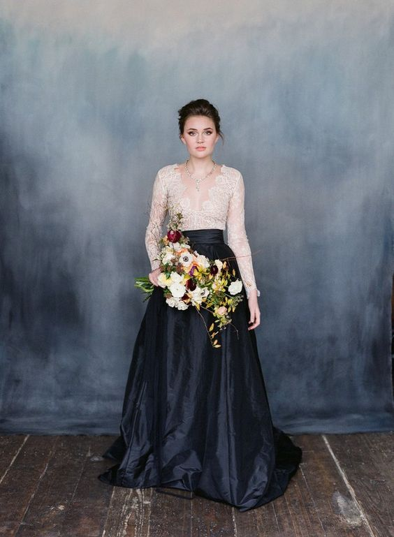 Statement black satin skirt from Emily Riggs Bridal