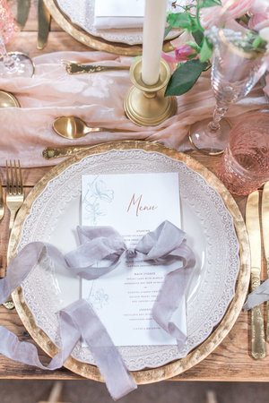 Inkflower Press Silkscreen Printed Plum Blossom Wedding Menu