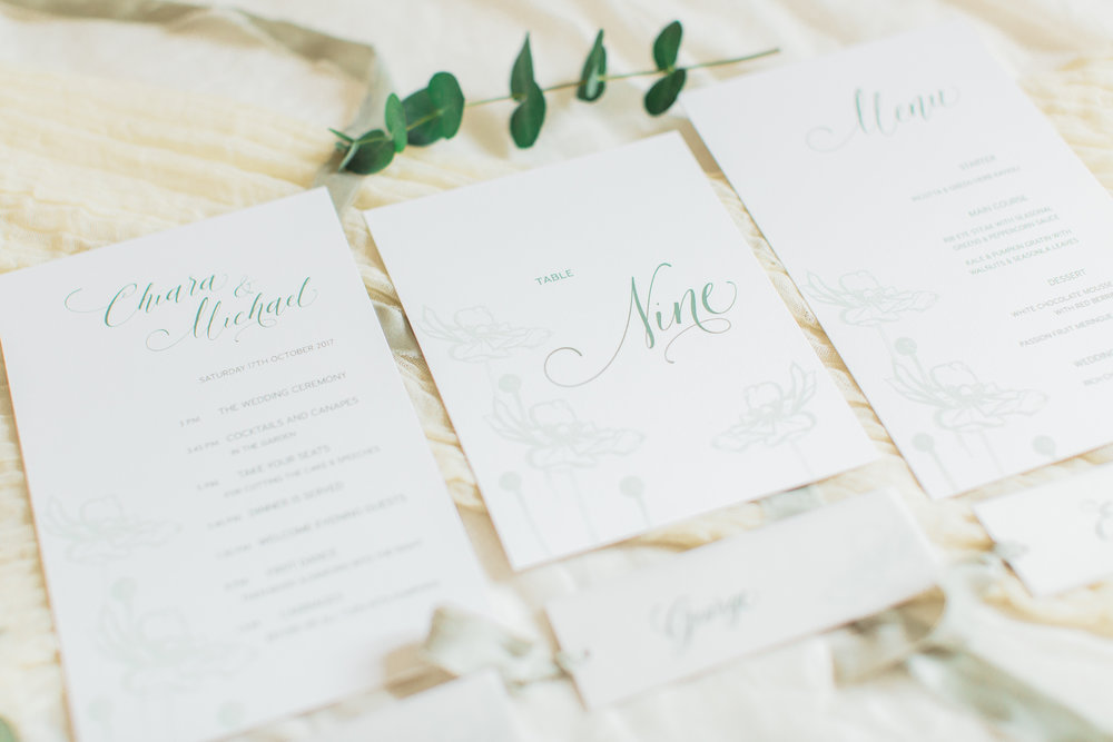 Inkflower Press silkscreen printed Anemone wedding stationery - Verdigris