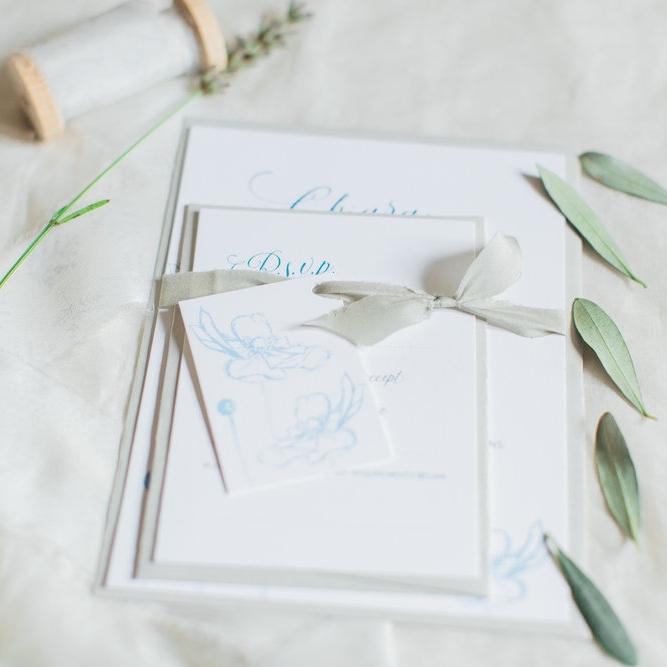 Inkflower Press silkscreen printed Anemone wedding invitation suite - Copenhagen Blue