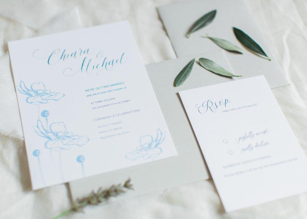 Inkflower Press silkscreen printed Anemone wedding stationery - Copenhagen Blue