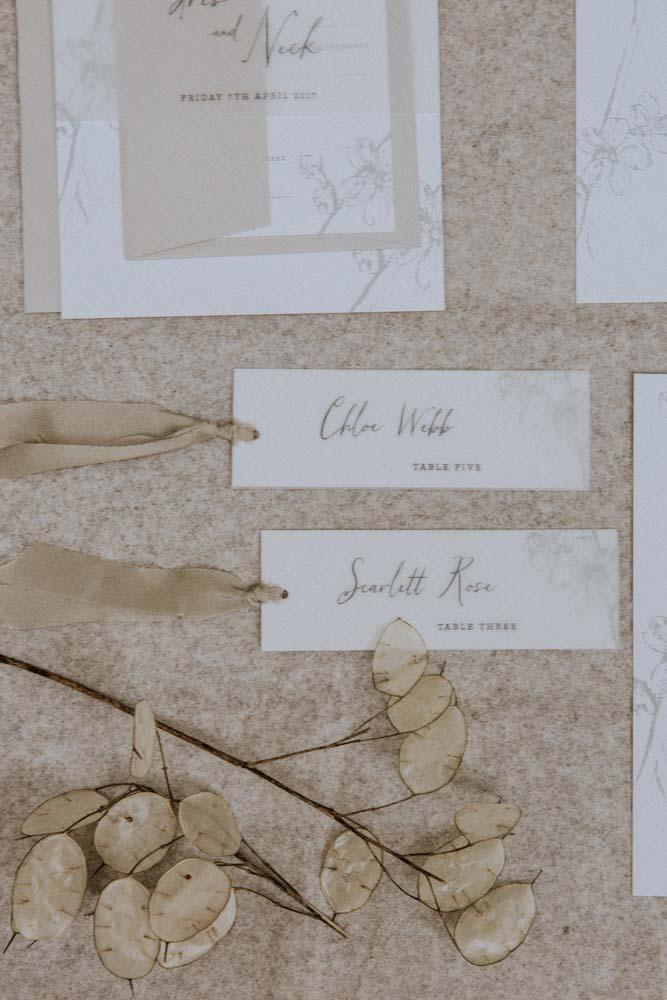 Inkflower Press silkscreen printed Plum Blossom wedding stationery - Pebble Grey