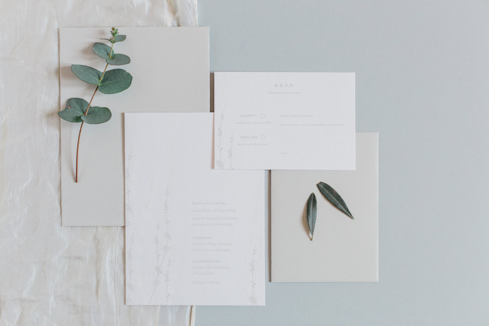 Inkflower Press silkscreen printed Winter Seedheads wedding invitation suite - White on White
