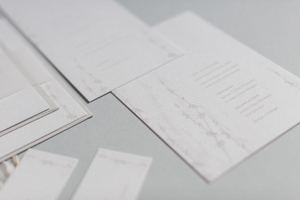 Inkflower Press silkscreen printed Winter Seedheads wedding stationery suite - White on White