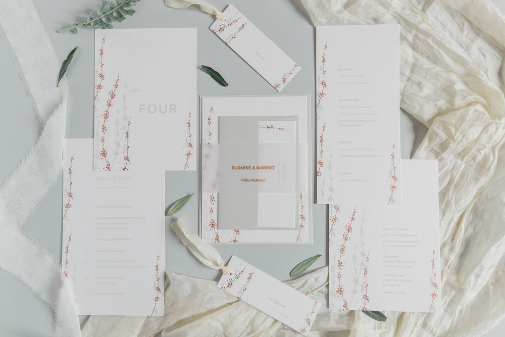 Inkflower Press silkscreen printed Winter Seedheads wedding stationery suite - Copper