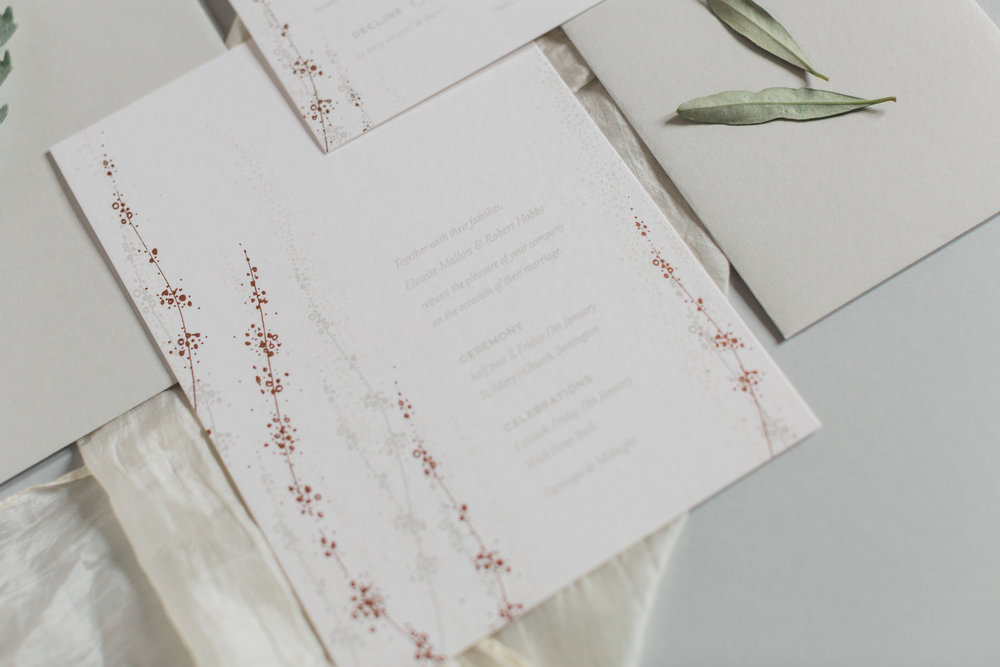 Inkflower Press silkscreen printed Winter Seedheads wedding invitation suite - Copper
