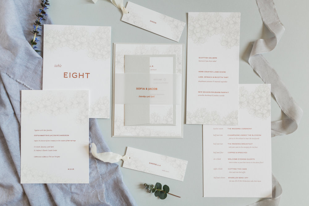 Inkflower Press silkscreen printed Hedgerow Blossom wedding stationery suite - Copper