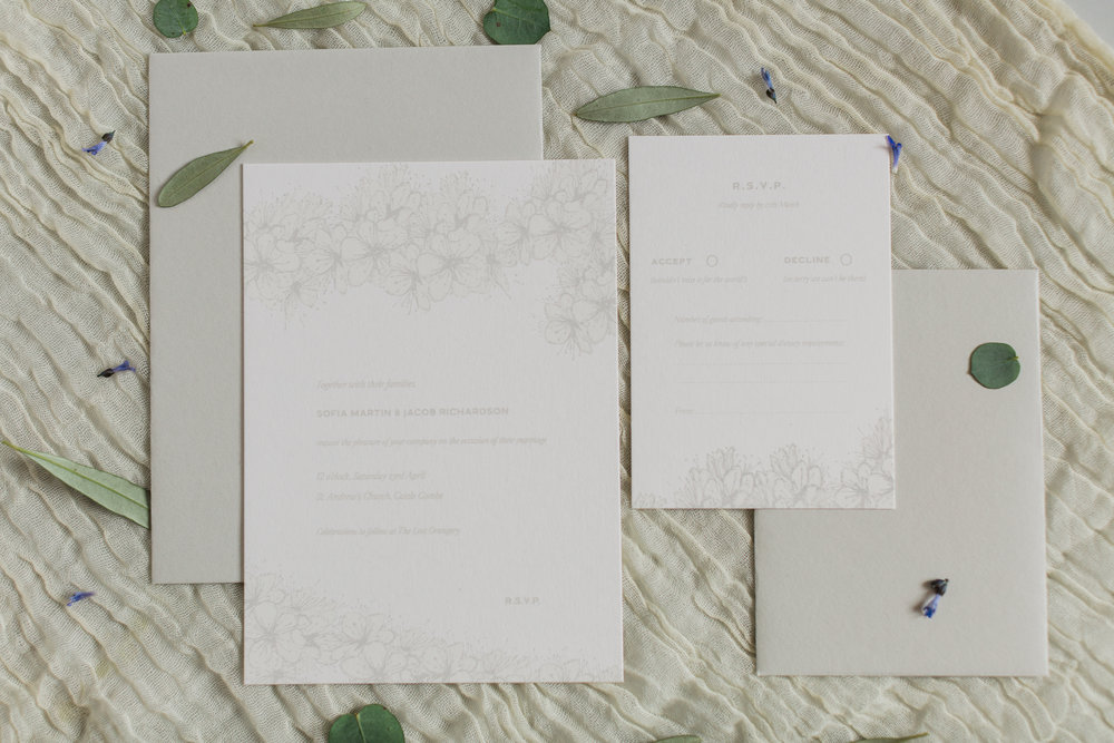 Inkflower Press silkscreen printed Hedgerow Blossom wedding invitation suite - Palest Grey