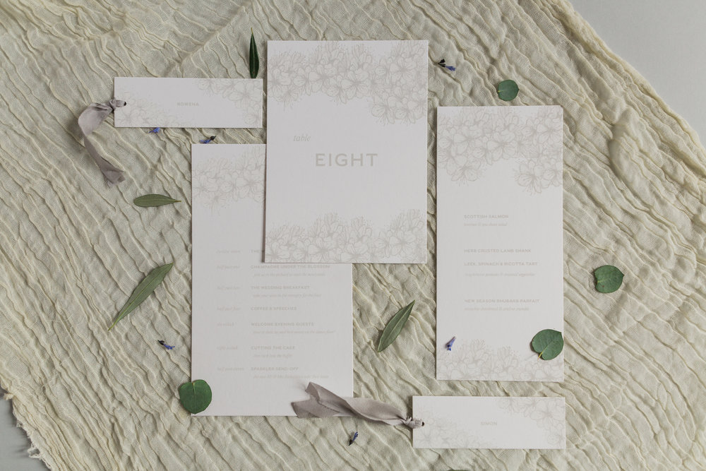 Inkflower Press silkscreen printed Hedgerow Blossom wedding stationery suite - Palest Grey