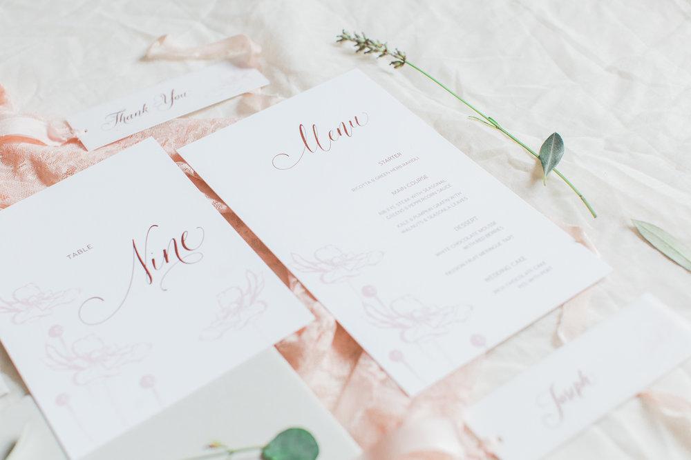 Inkflower Press Anemone silkscreen printed wedding stationery - Copper Rose