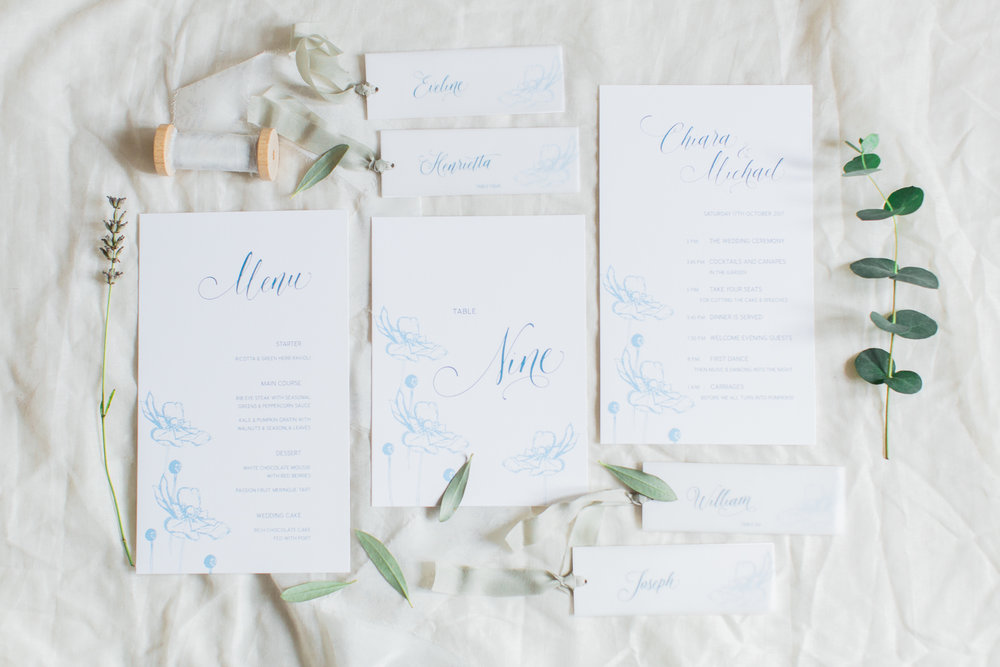 Inkflower Press Anemone silkscreen printed wedding stationery - Copenhagen Blue