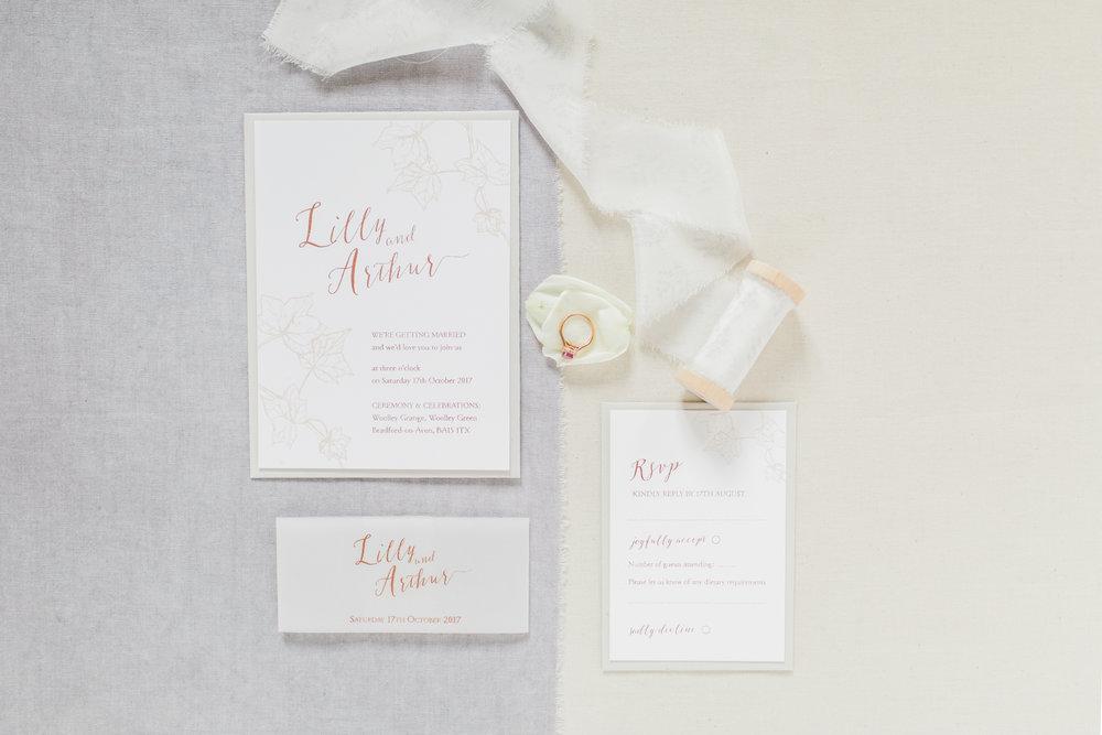 Inkflower Press Ivy silkscreen printed wedding invitation suite - Copper Blush