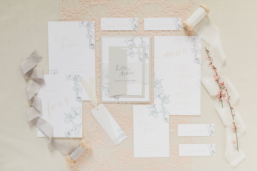 Inkflower Press Ivy silkscreen printed wedding stationery - Blush Slate