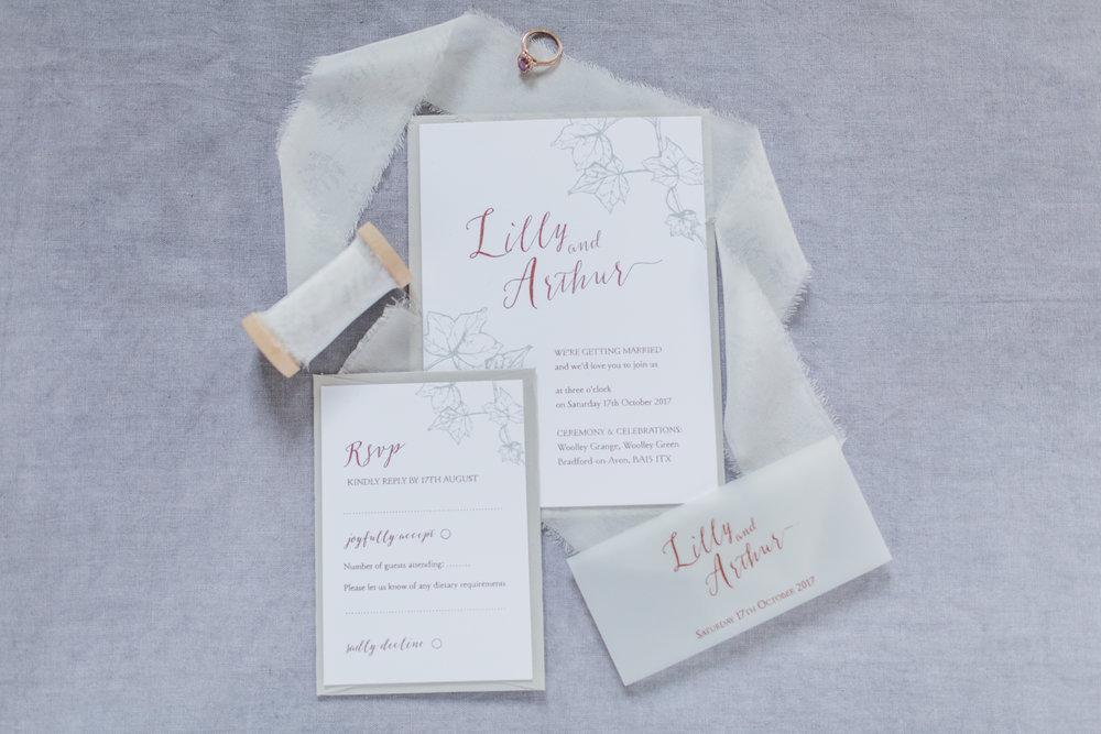 Inkflower Press Ivy silkscreen printed wedding invitation suite - Copper Slate