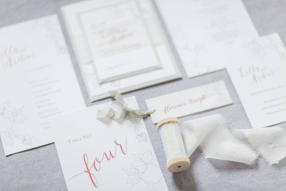 Inkflower Press Ivy silkscreen printed wedding stationery - Copper Slate