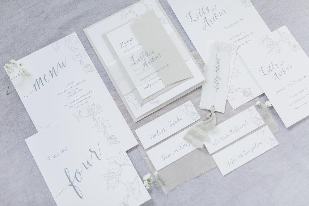 Inkflower Press Ivy silkscreen printed wedding stationery - Pebble Grey