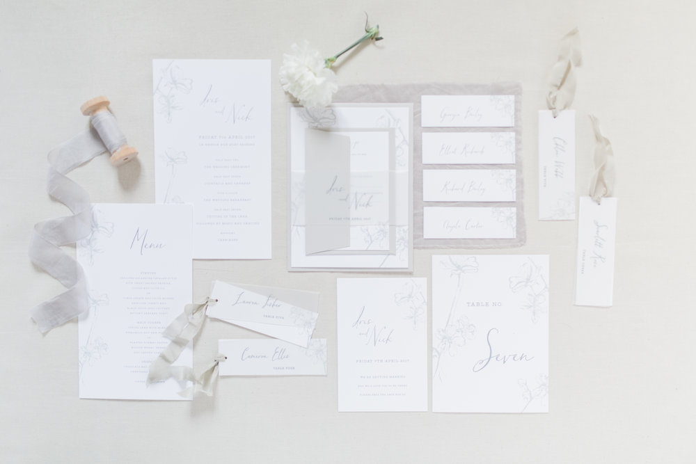 Inkflower Press Plum Blossom silkscreen printed wedding stationery - Pebble Grey