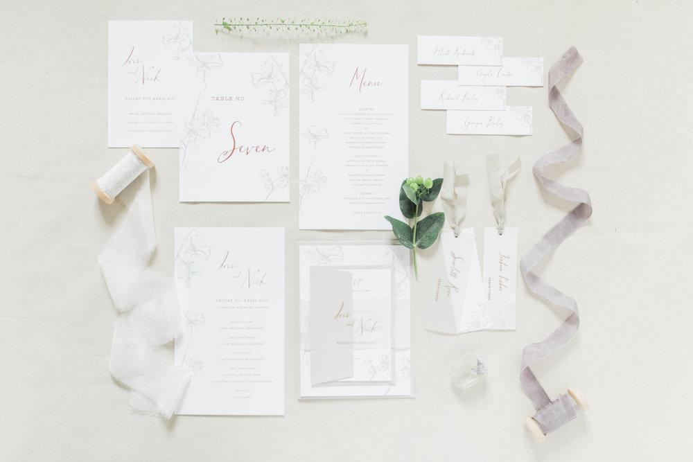 Inkflower Press Plum Blossom silkscreen printed wedding stationery - Copper Slate