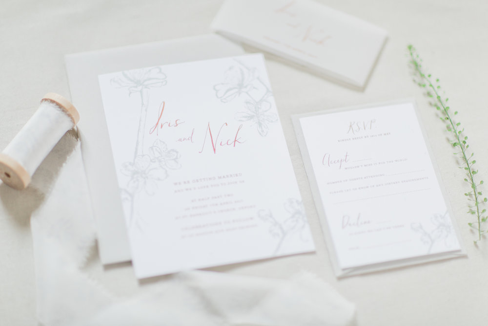 Inkflower Press Plum Blossom silkscreen printed wedding invitation suite - Copper Slate