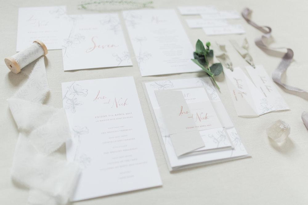 Inkflower Press Plum Blossom silkscreen printed wedding stationery suite - Copper Slate