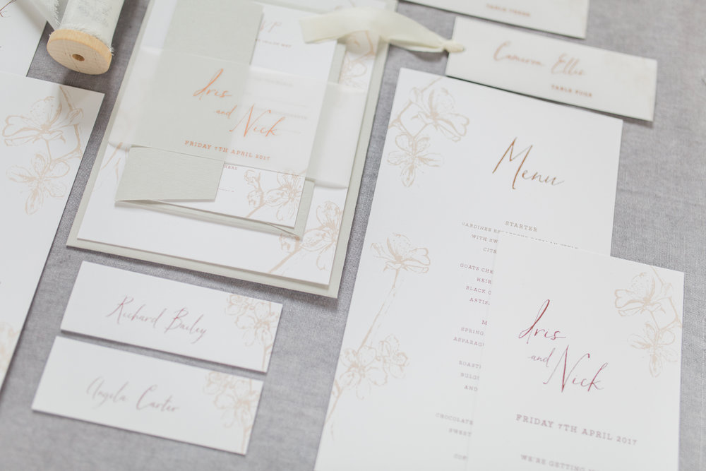Inkflower Press Plum Blossom silkscreen printed wedding stationery suite - Copper Blush
