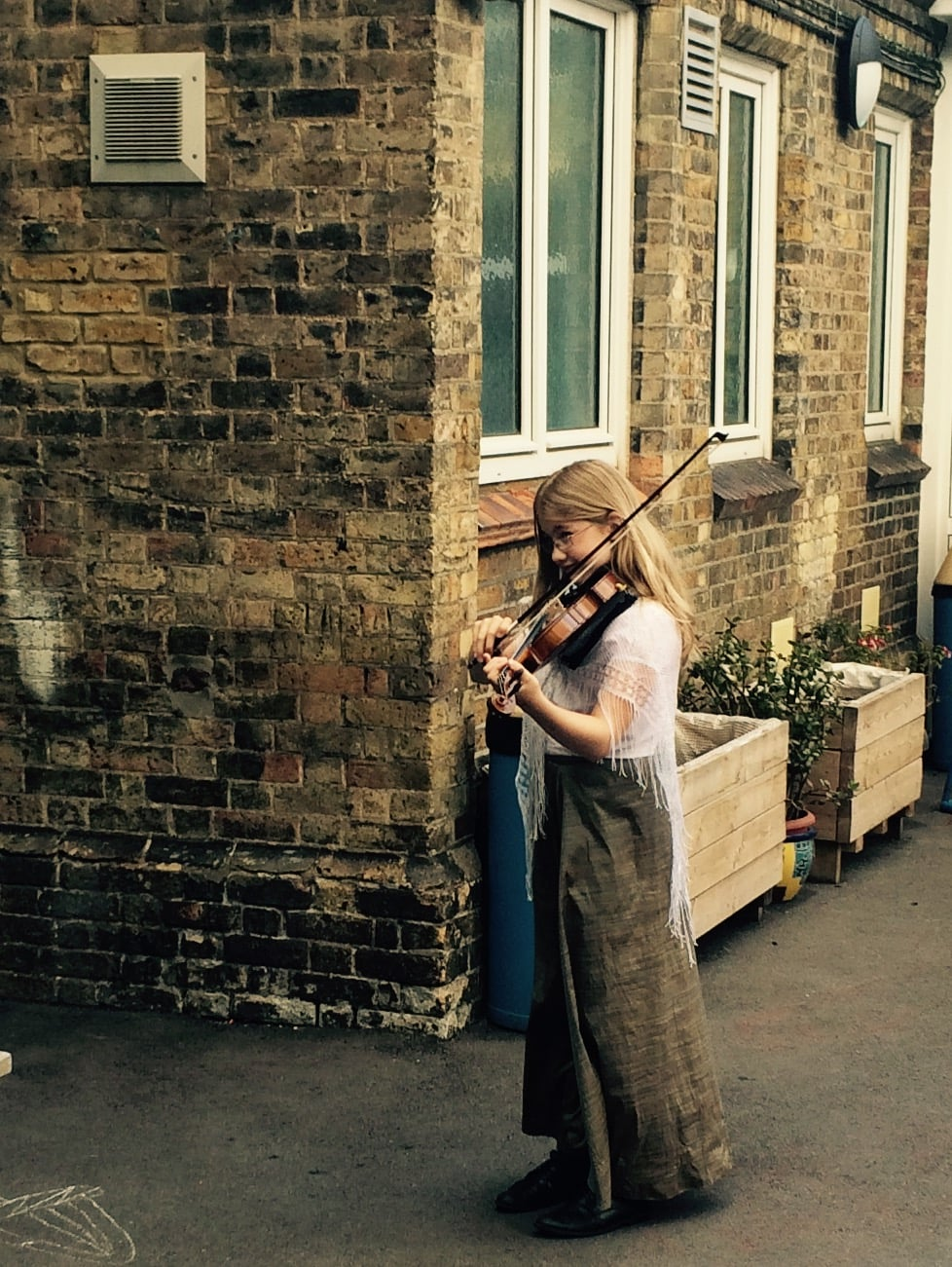 Charlotte Mountford warming up before the school production of Oliver!