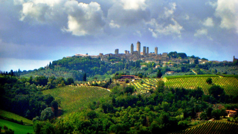 The towers of San Gimignano over a stereotypically stunning Tuscan valley.