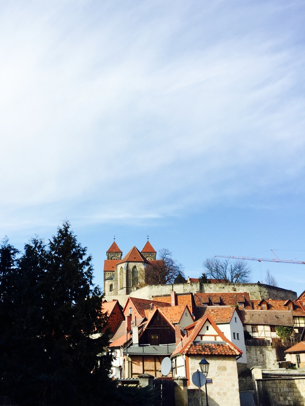 The Schloss in Quedlinburg along with a 21st Century crane.