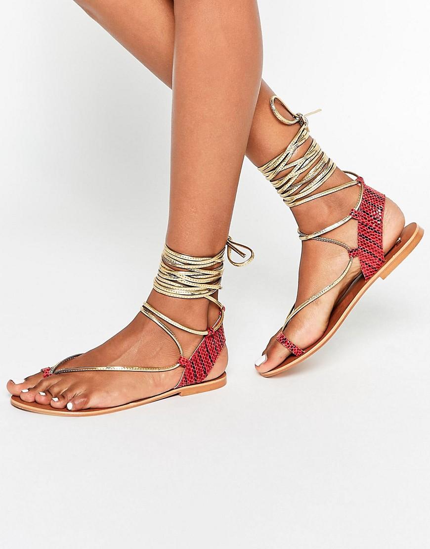 Asos Flat Tie Leg Sandals