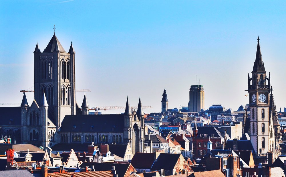 Ghent's church heavy skyline