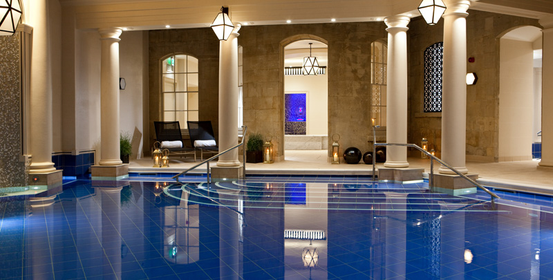 The Gainsborough Bath Spa  This spa in Bath is so elegant due to its classical architecture and chic finishes. It's crowning glory is its vast Roman swimming pool. Relaxing around its edges is so enjoyable that it is easy to forget the fab wealth of treatments on offer, and the yummy food at lunch which you can buy as part of a package as a day guest.