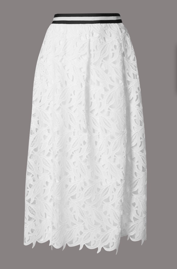 Lace A Line Skirt, £69   This beautiful white lace skirt belies its small price tag. Although part of its more expensive Autograph range, it is still more than affordable, especially when considering how much it can be used in the run up to summer. Weddings, girly lunches, hot days at the office when mixed with a button down shirt, BBQs. It's an easy separate owing to its shape and colour. Mix it and match to your style's desire!