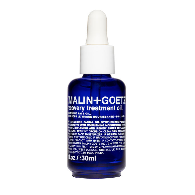 Malin and Goetz Recover Treatment Oil   This little bottle packs a powerful punch yet is light enough to use morning and night. It contains a cocktail of 9 natural oils that all work in harmony to help your skin look instantly radiant as well as softer and more supple. Importantly, for this time of year, it contains geranium and borage oils that will help with any inflammation that has occurred during the winter months.