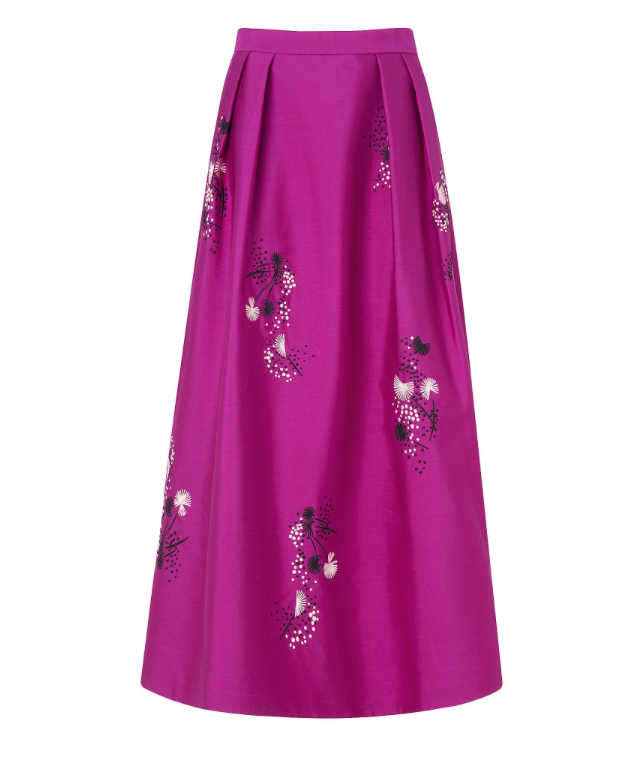 Orchid Cotton Silk Skirt, £275, LK Bennett  There are two versions of this skirt. The other is a baby pink colour, but I chose this one for my Top 10 Pink Items as its hue is not one very often seen in the shops. Plus I think the darker tone toughens up what is otherwise a very feminine, flowery, full skirt. Its shape means, I think, that only heels will truly flatter the wearer. But even a delicate pair of kitten heels will do!