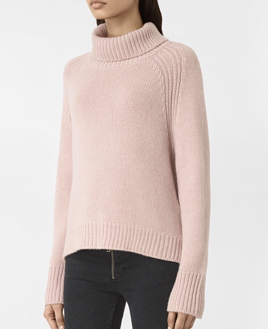 Cashmere Jumper, £188, All Saints  Another item that will see us through into the new season is this fab dusty rose jumper from All Saints. Its colour and fabric are delicate yet warm, so will be able to be worn from the sruffiest of jeans for a duvet day at home, to the smartest of skirts at the office. My only problem with it is that I would scarcely take it off given that it is woven from the softest cashmere. It's a great example of how to wear pink this season