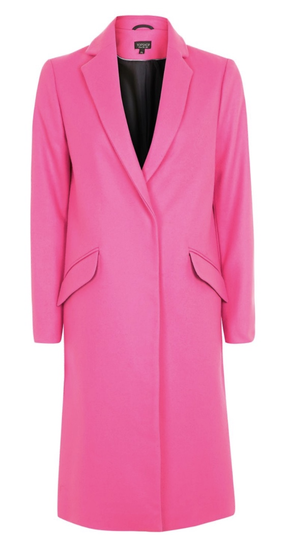 Fluro Wool Coat, Topshop  Never one to shy away from a trend, Topshop has gone all out on this look at me coat. This is definitely not one for wallflowers, but with a Topshop price tag, is much more accessible than it would first appear. Wear with simple separates and the clean lines of this coat will mean that you wear it, as opposed to the almost luminous colour wearing you.