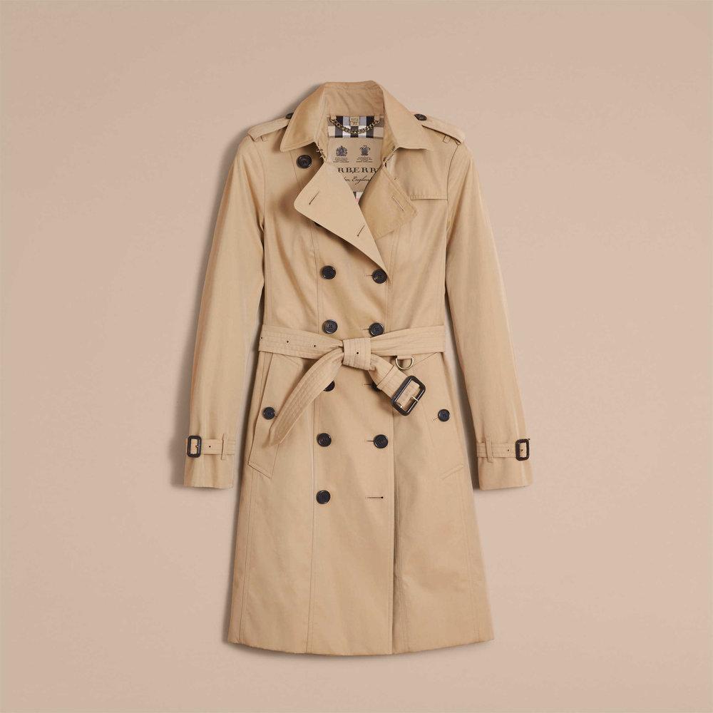 "6) Trench Coat,   Burberry, ""The Sandringham"" Longline Trench Coat, £1,395"