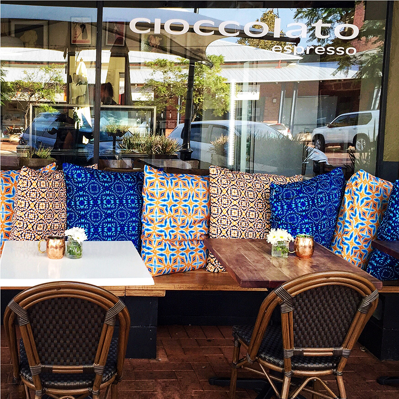 """It was so easy working with Terri - the cushions are the best investment with this cold weather coming. They create a much more inviting seating area out the front of the cafe. I constantly see people getting snuggly in them!""   A. Murray - owner Cioccolato Espresso, Applecross, Perth, Australia"